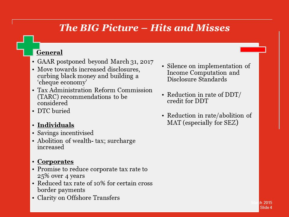 The BIG Picture – Hits and Misses General GAAR postponed beyond March 31, 2017 Move towards increased disclosures, curbing black money and building a 'cheque economy' Tax Administration Reform Commission (TARC) recommendations to be considered DTC buried Individuals Savings incentivised Abolition of wealth- tax; surcharge increased Corporates Promise to reduce corporate tax rate to 25% over 4 years Reduced tax rate of 10% for certain cross border payments Clarity on Offshore Transfers Silence on implementation of Income Computation and Disclosure Standards Reduction in rate of DDT/ credit for DDT Reduction in rate/abolition of MAT (especially for SEZ ) March 2015 Slide 4