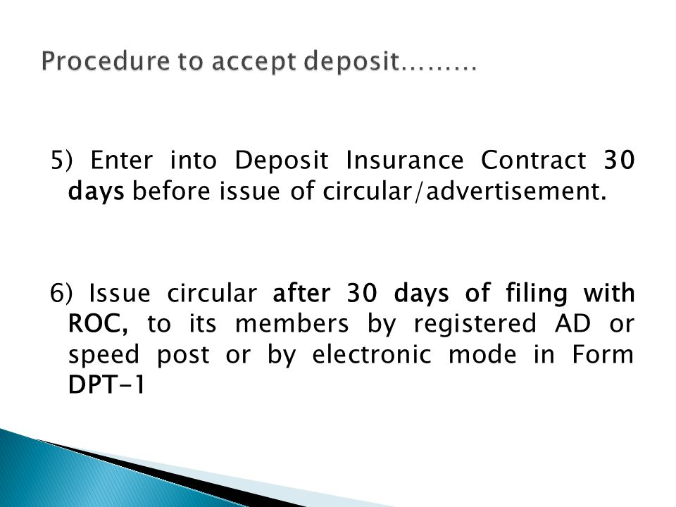 5) Enter into Deposit Insurance Contract 30 days before issue of circular/advertisement.