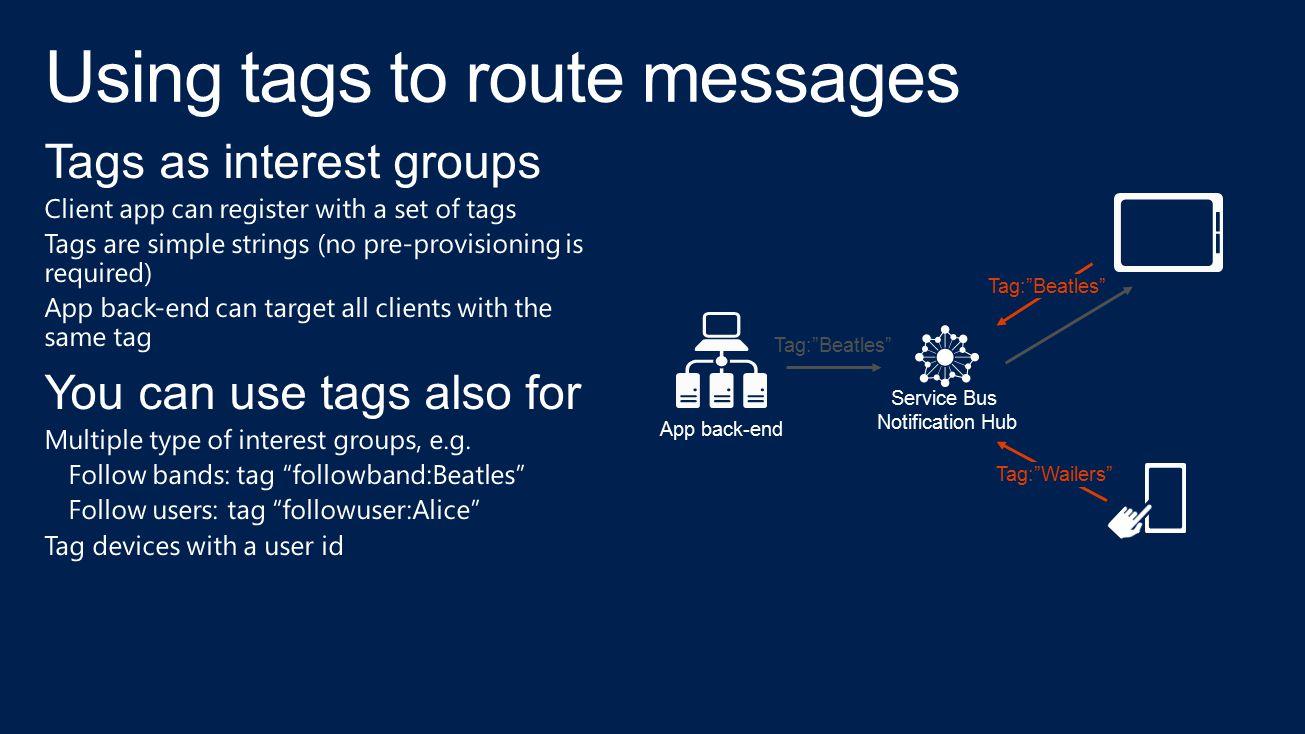 "Service Bus Notification Hub App back-end Tag:""Beatles"" Tag:""Wailers"" Tag:""Beatles"""