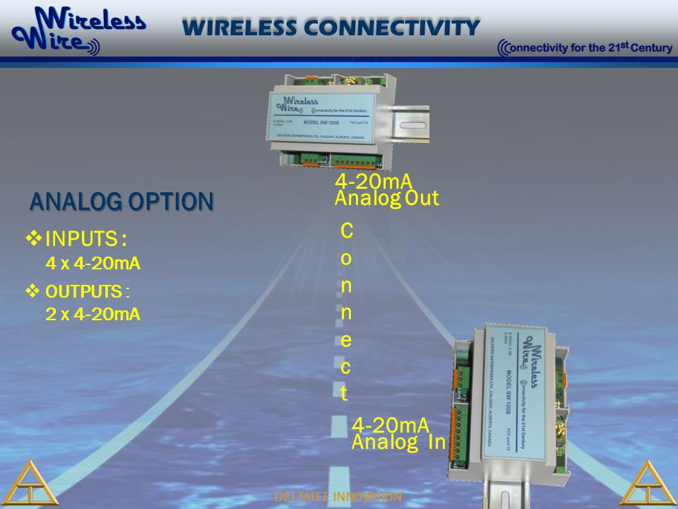 DELTATEE INNOVATION WIRELESS CONNECTIVITY 4-20mA Analog In 4-20mA Analog Out ConnectConnect  INPUTS : 4 x 4-20mA  OUTPUTS : 2 x 4-20mA ANALOG OPTION
