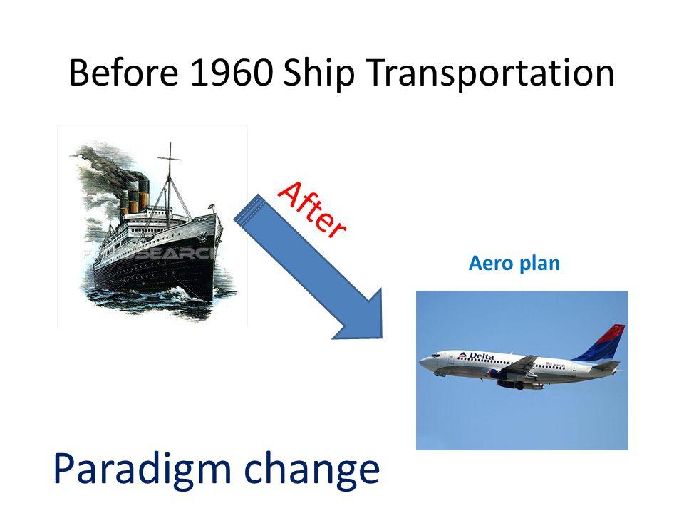 Before 1960 Ship Transportation After Paradigm change Aero plan