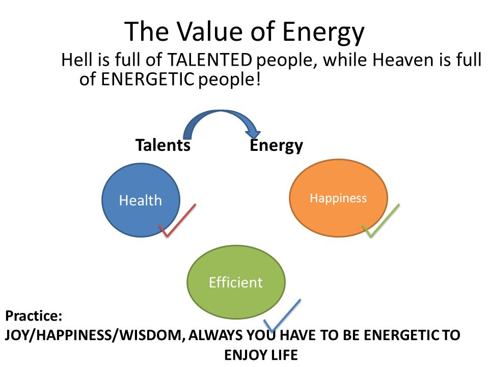 The Value of Energy Hell is full of TALENTED people, while Heaven is full of ENERGETIC people.