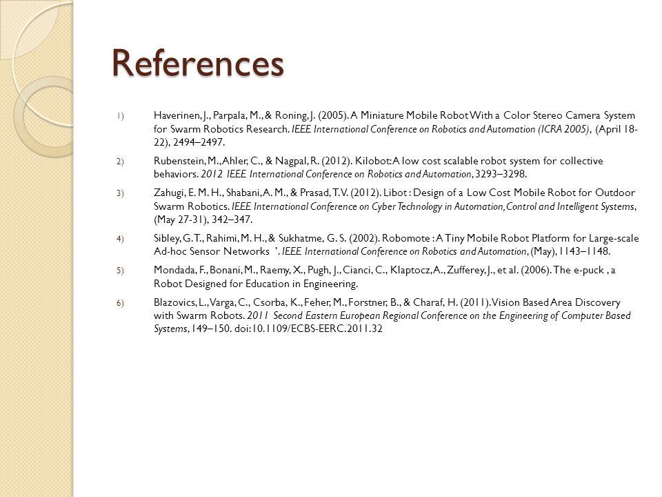 References 1) Haverinen, J., Parpala, M., & Roning, J.