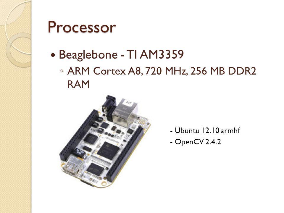 Processor Beaglebone - TI AM3359 ◦ ARM Cortex A8, 720 MHz, 256 MB DDR2 RAM  - Ubuntu 12.10 armhf  - OpenCV 2.4.2   C
