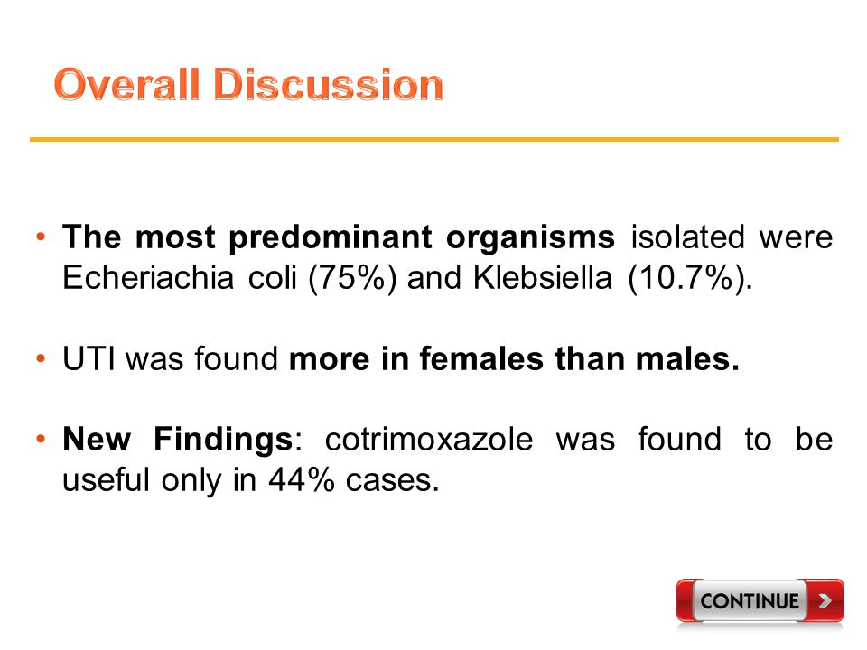 The most predominant organisms isolated were Echeriachia coli (75%) and Klebsiella (10.7%).