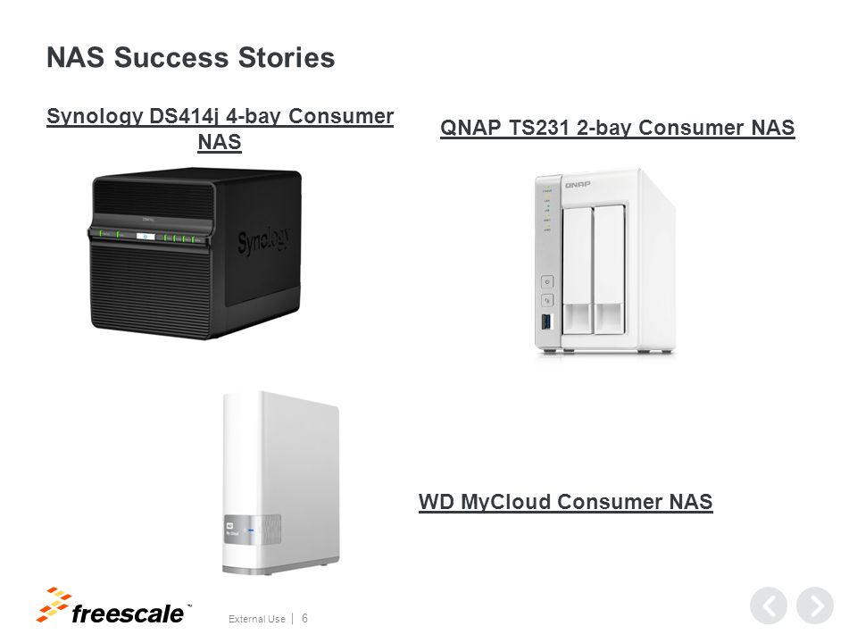 TM External Use 6 NAS Success Stories Synology DS414j 4-bay Consumer NAS QNAP TS231 2-bay Consumer NAS WD MyCloud Consumer NAS