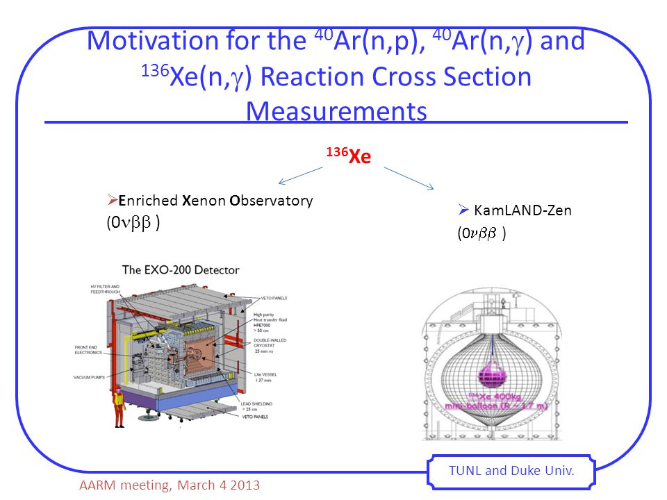 Motivation for the 40 Ar(n,p), 40 Ar(n,  ) and 136 Xe(n,  ) Reaction Cross Section Measurements TUNL and Duke Univ.  Enriched Xenon Observatory ( 0