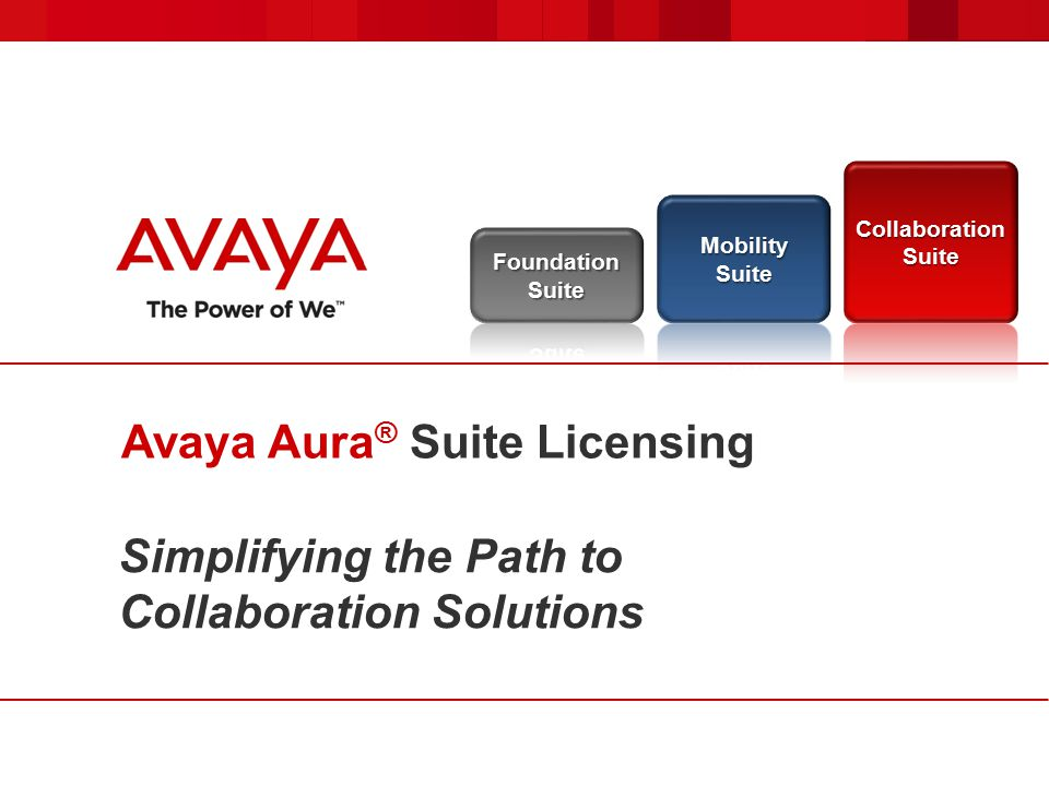 Simplifying the Path to Collaboration Solutions Avaya Aura ® Suite Licensing