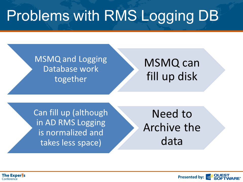 Problems with RMS Logging DB MSMQ and Logging Database work together MSMQ can fill up disk Can fill up (although in AD RMS Logging is normalized and takes less space) Need to Archive the data