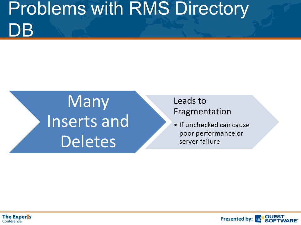 Problems with RMS Directory DB Many Inserts and Deletes Leads to Fragmentation If unchecked can cause poor performance or server failure
