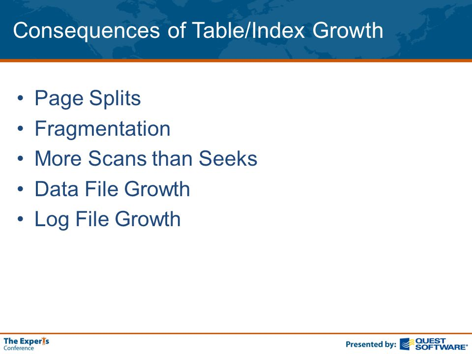 Consequences of Table/Index Growth Page Splits Fragmentation More Scans than Seeks Data File Growth Log File Growth