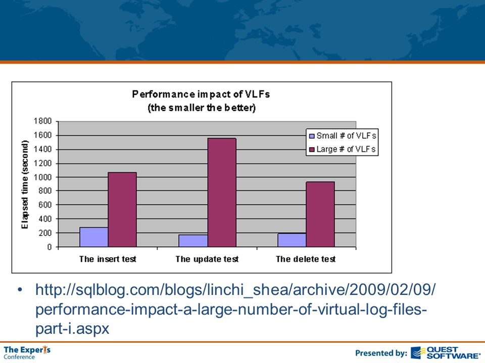 http://sqlblog.com/blogs/linchi_shea/archive/2009/02/09/ performance-impact-a-large-number-of-virtual-log-files- part-i.aspx
