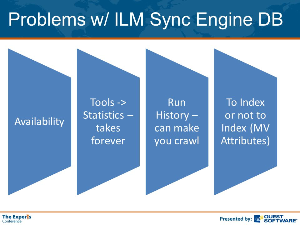 Problems w/ ILM Sync Engine DB Availability Tools -> Statistics – takes forever Run History – can make you crawl To Index or not to Index (MV Attributes)