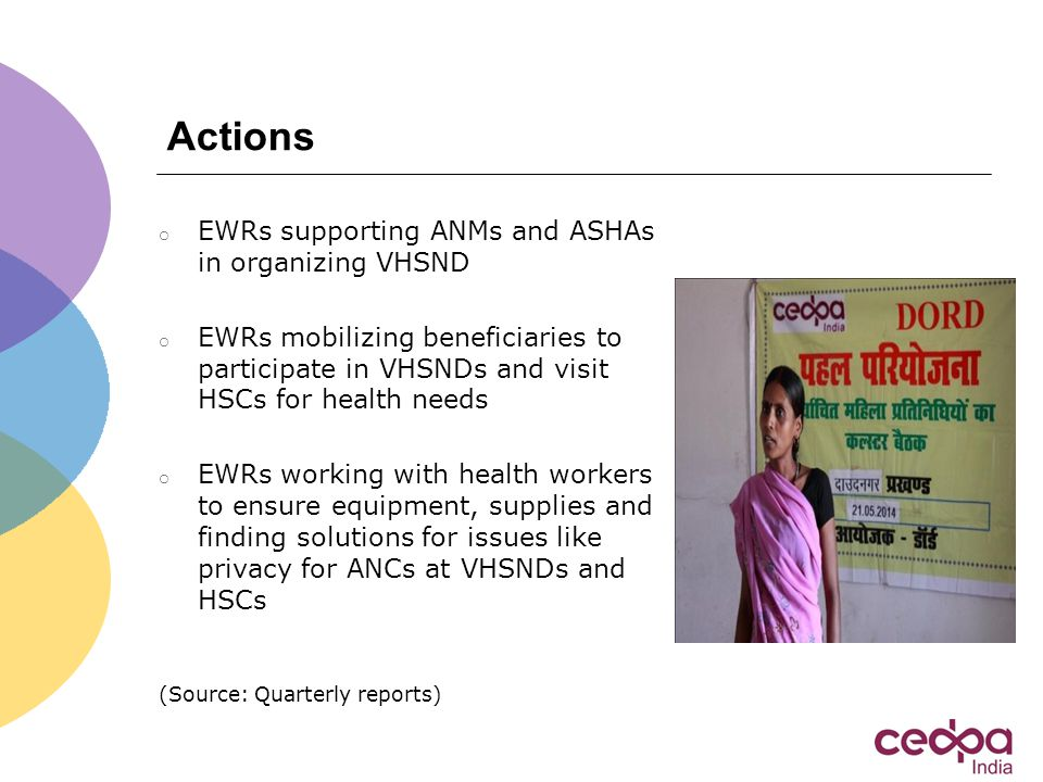 Actions o EWRs supporting ANMs and ASHAs in organizing VHSND o EWRs mobilizing beneficiaries to participate in VHSNDs and visit HSCs for health needs o EWRs working with health workers to ensure equipment, supplies and finding solutions for issues like privacy for ANCs at VHSNDs and HSCs (Source: Quarterly reports)
