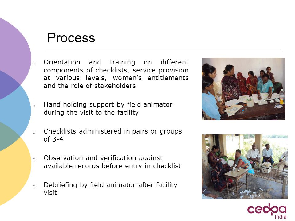 Process o Orientation and training on different components of checklists, service provision at various levels, women's entitlements and the role of stakeholders o Hand holding support by field animator during the visit to the facility o Checklists administered in pairs or groups of 3-4 o Observation and verification against available records before entry in checklist o Debriefing by field animator after facility visit