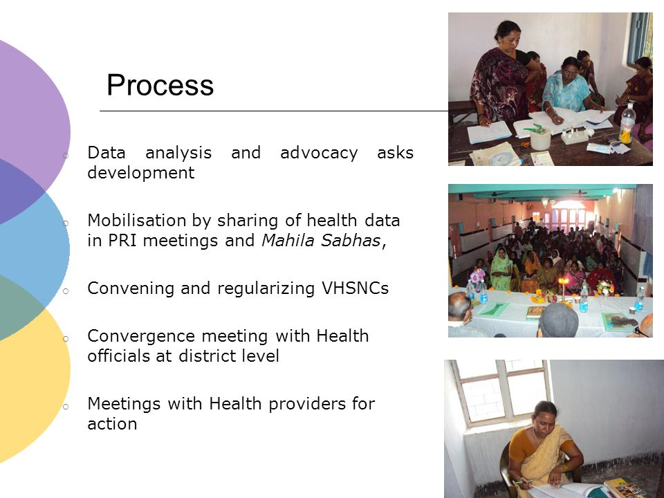 Process o Data analysis and advocacy asks development o Mobilisation by sharing of health data in PRI meetings and Mahila Sabhas, o Convening and regu