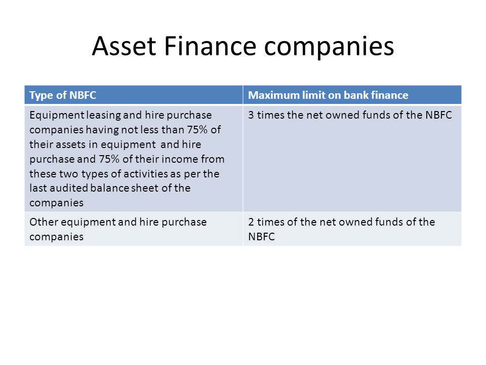 Asset Finance companies Type of NBFCMaximum limit on bank finance Equipment leasing and hire purchase companies having not less than 75% of their assets in equipment and hire purchase and 75% of their income from these two types of activities as per the last audited balance sheet of the companies 3 times the net owned funds of the NBFC Other equipment and hire purchase companies 2 times of the net owned funds of the NBFC
