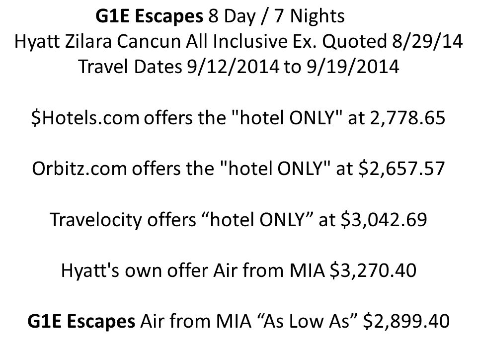 G1E Escapes 8 Day / 7 Nights Hyatt Zilara Cancun All Inclusive Ex.