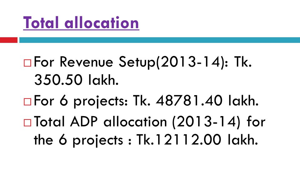 Total allocation  For Revenue Setup(2013-14): Tk. 350.50 lakh.  For 6 projects: Tk. 48781.40 lakh.  Total ADP allocation (2013-14) for the 6 projec