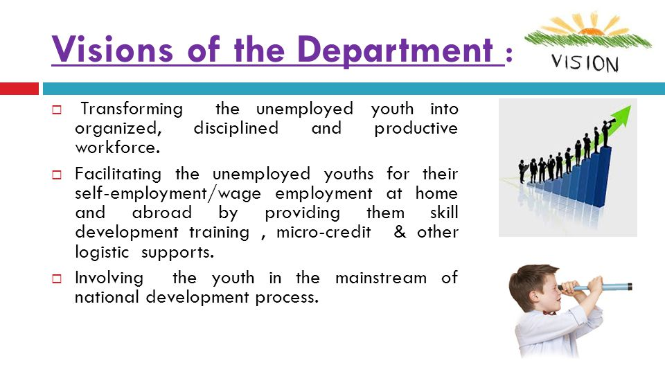 Objectives of the Department :   To encourage the youth for self-employment and wage employment through motivation, training, micro credit assistance and other necessary support.