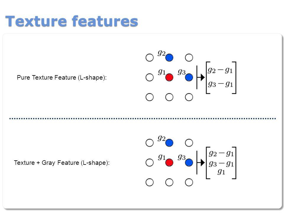 Texture features Pure Texture Feature (L-shape): Texture + Gray Feature (L-shape):