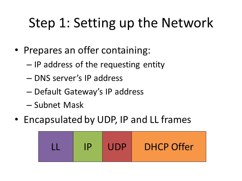 Step 1: Setting up the Network Next Steps: – Client accepts an offer by broadcasting a Request message – The server sends back an ACK