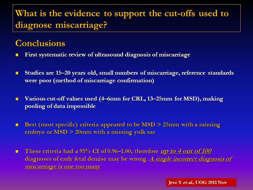 What is the evidence to support the cut-offs used to diagnose miscarriage? Conclusions First systematic review of ultrasound diagnosis of miscarriage