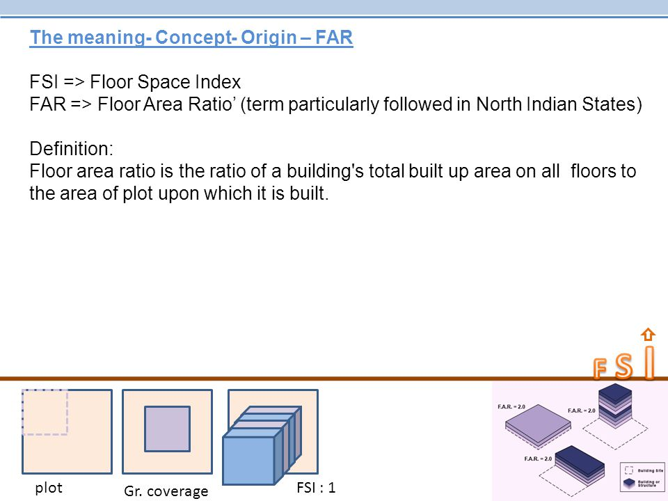 The meaning- Concept- Origin – FAR FSI => Floor Space Index FAR => Floor Area Ratio' (term particularly followed in North Indian States) Definition: F