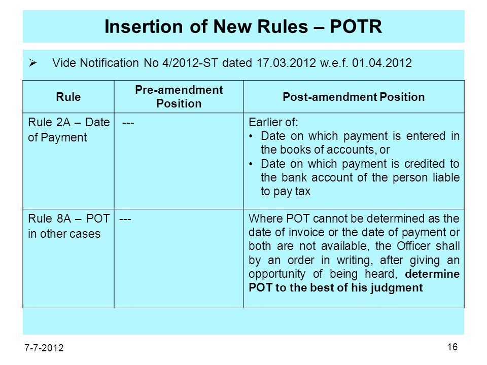 16 Insertion of New Rules – POTR  Vide Notification No 4/2012-ST dated 17.03.2012 w.e.f.