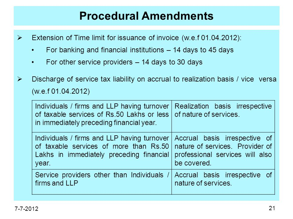 21 Procedural Amendments  Extension of Time limit for issuance of invoice (w.e.f 01.04.2012): For banking and financial institutions – 14 days to 45 days For other service providers – 14 days to 30 days  Discharge of service tax liability on accrual to realization basis / vice versa (w.e.f 01.04.2012) 7-7-2012 Individuals / firms and LLP having turnover of taxable services of Rs.50 Lakhs or less in immediately preceding financial year.