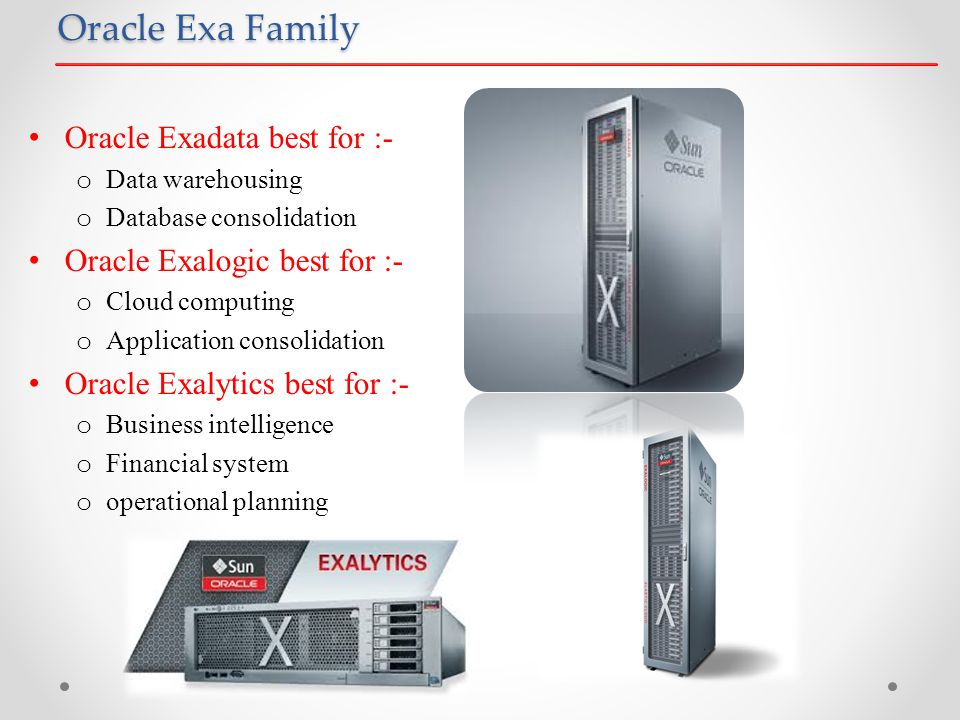 Oracle Exa Family Oracle Exadata best for :- o Data warehousing o Database consolidation Oracle Exalogic best for :- o Cloud computing o Application consolidation Oracle Exalytics best for :- o Business intelligence o Financial system o operational planning