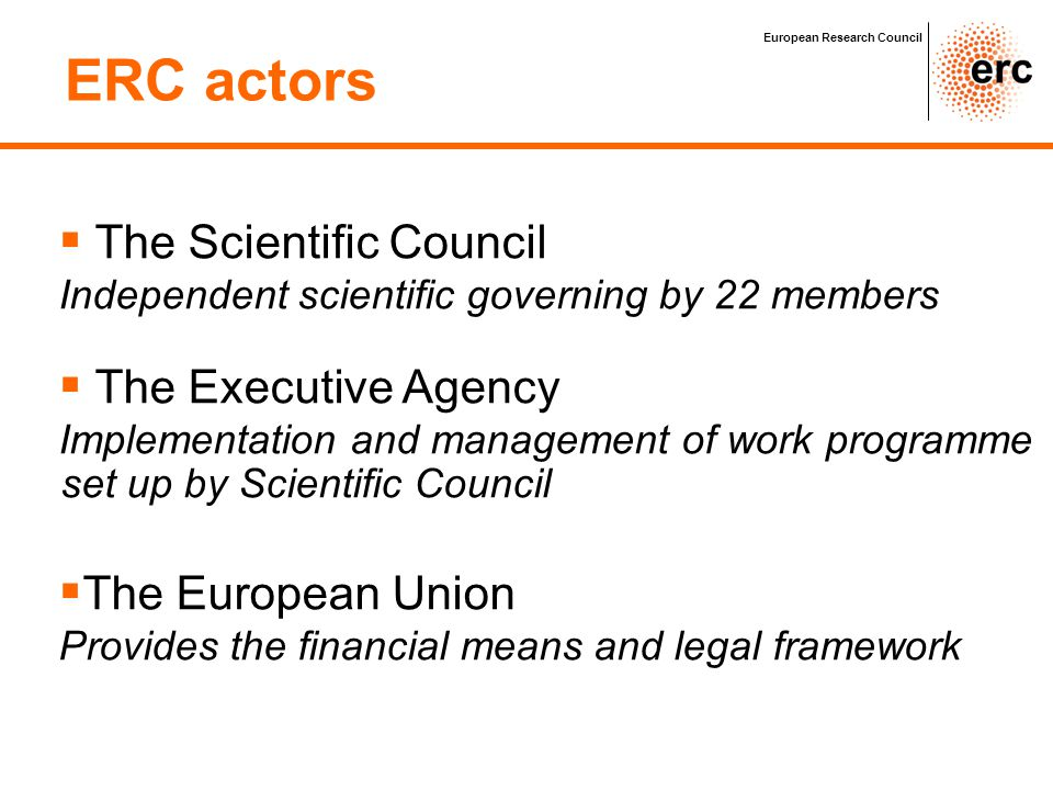 ERC actors European Research Council   The Scientific Council Independent scientific governing by 22 members   The Executive Agency Implementation