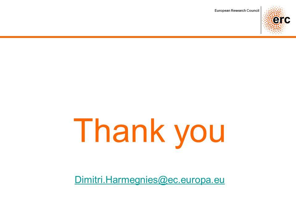 European Research Council Thank you Dimitri.Harmegnies@ec.europa.eu