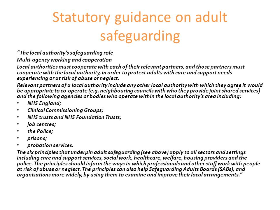 "Statutory guidance on adult safeguarding ""The local authority's safeguarding role Multi-agency working and cooperation Local authorities must cooperat"