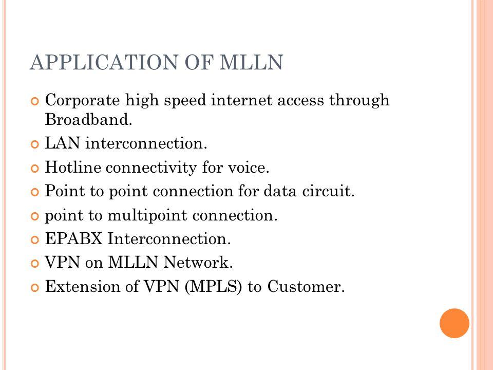 APPLICATION OF MLLN Corporate high speed internet access through Broadband.
