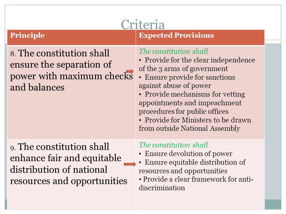 Criteria Katiba Sasa. Campaign PrincipleExpected Provisions 8.