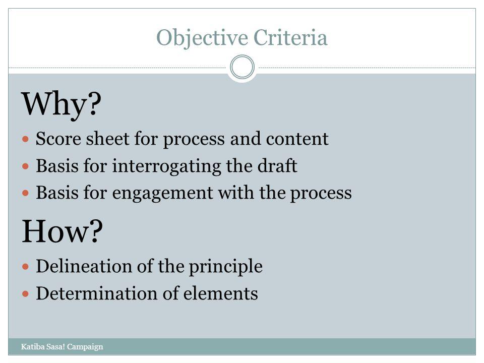 Objective Criteria Katiba Sasa. Campaign Why.