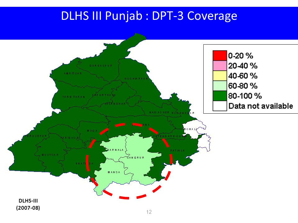 DLHS III Punjab : DPT-3 Coverage DLHS-III (2007-08) 12