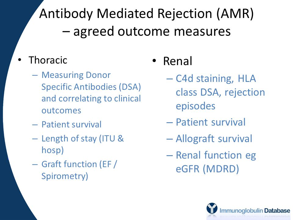 Antibody Mediated Rejection (AMR) – agreed outcome measures Thoracic – Measuring Donor Specific Antibodies (DSA) and correlating to clinical outcomes