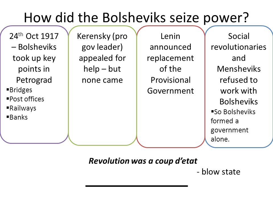 How did the Bolsheviks seize power? Social revolutionaries and Mensheviks refused to work with Bolsheviks  So Bolsheviks formed a government alone. L
