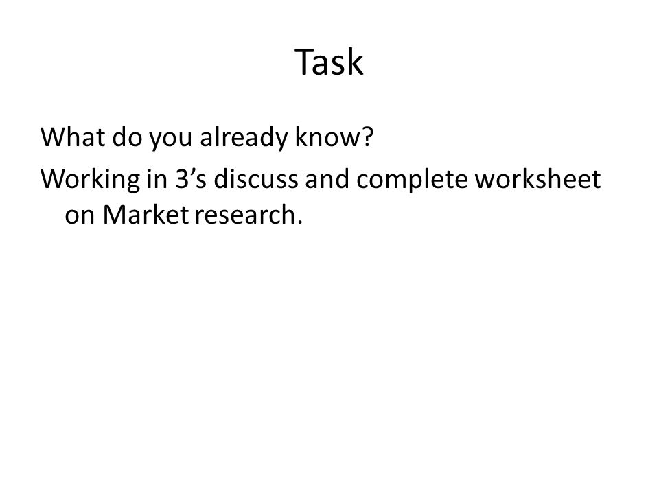 Task Prepare a presentation describing how marketing research is used to create and develop marketing plans for your chosen organisation For Marketing research you must include reference to the following terms:- qualitative; quantitative; primary and secondary internal/external research; their uses (i.e reduce risk in decision making, measure progress over time); and limitations (cost effectiveness, validity of data collected For Marketing planning you must include: marketing planning process models of:- PESTLE (political, economic, social, technological, legal and environmental external factors); SWOT (internal strengths and weaknesses, external opportunities and threats); The setting of SMART (specific, measurable, achievable, resourced, time-bound) objectives; and how these determine strategy and tactics, help implement changes; and evaluate progress