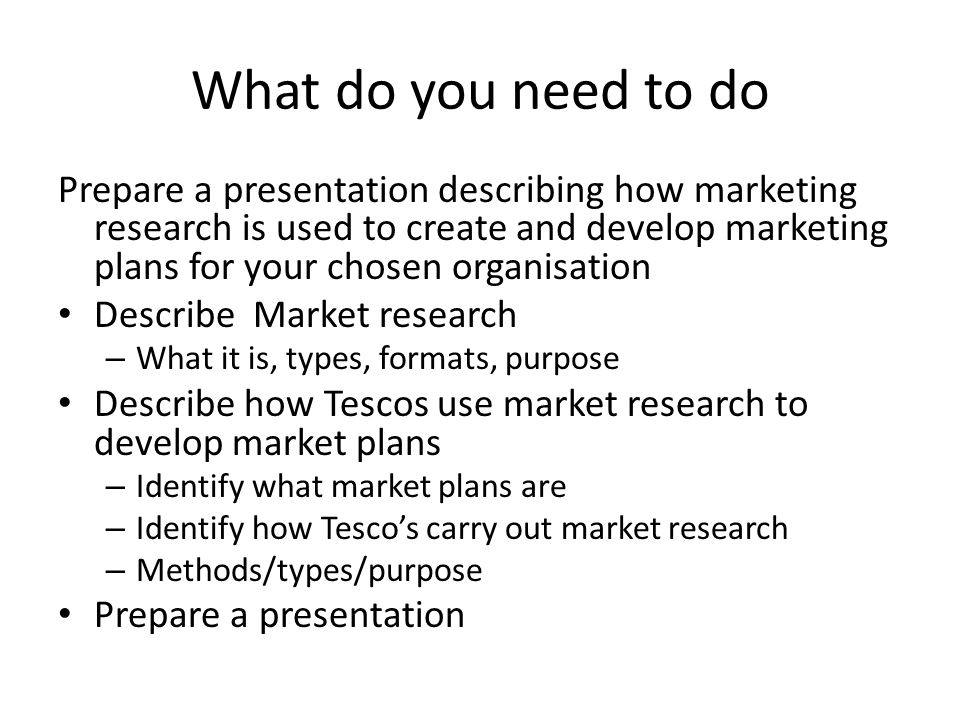 Starter Market Planning What is it? How is it done Why is it done