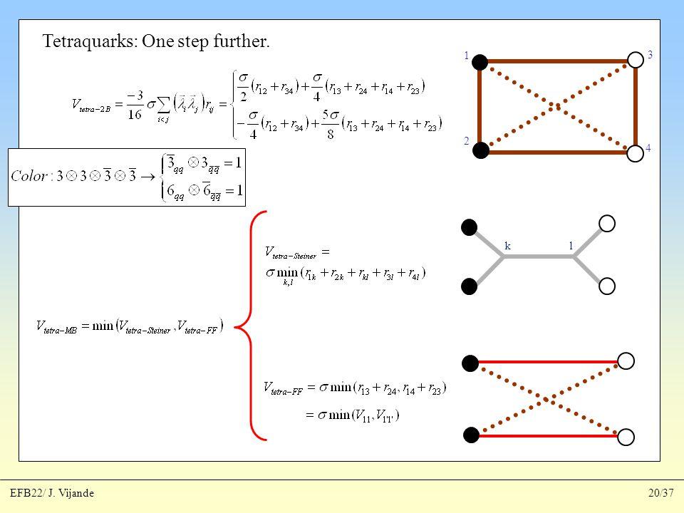 Tetraquarks: One step further. 1 2 3 4 kl EFB22/ J. Vijande20/37