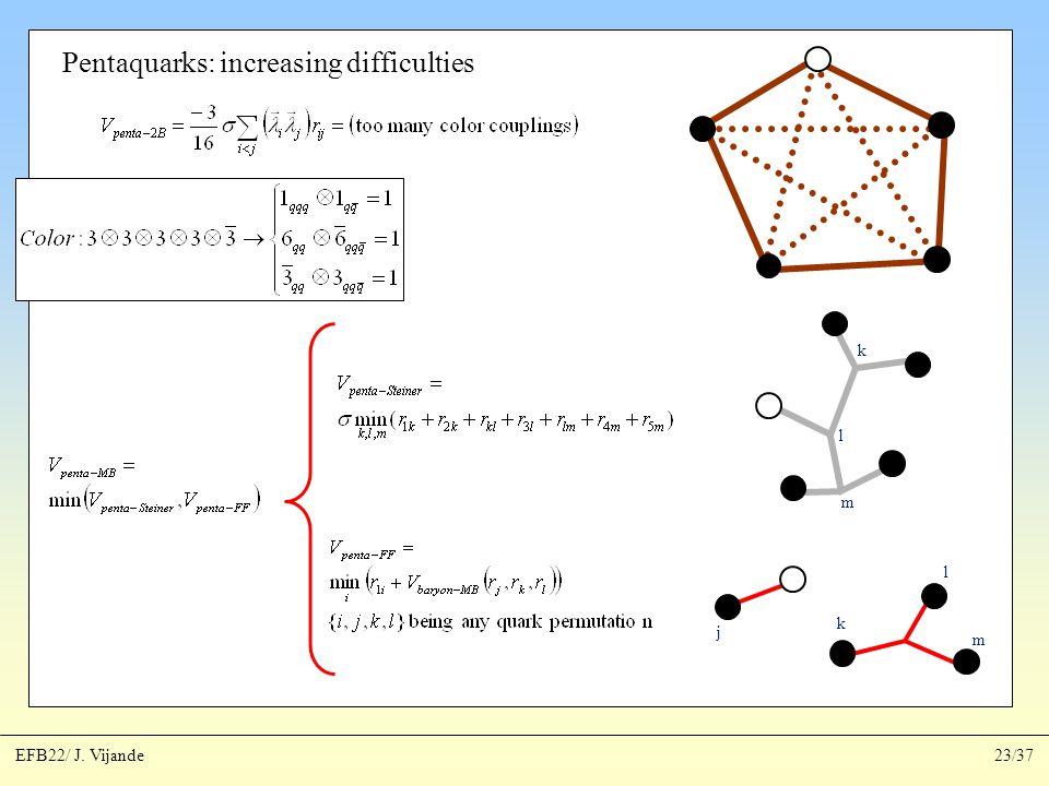 Pentaquarks: increasing difficulties k l m k l m j EFB22/ J. Vijande23/37