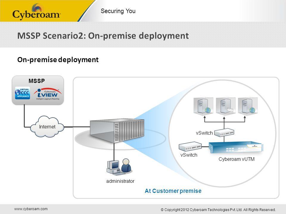 www.cyberoam.com © Copyright 2012 Cyberoam Technologies Pvt. Ltd. All Rights Reserved. Securing You MSSP Scenario2: On-premise deployment On-premise d