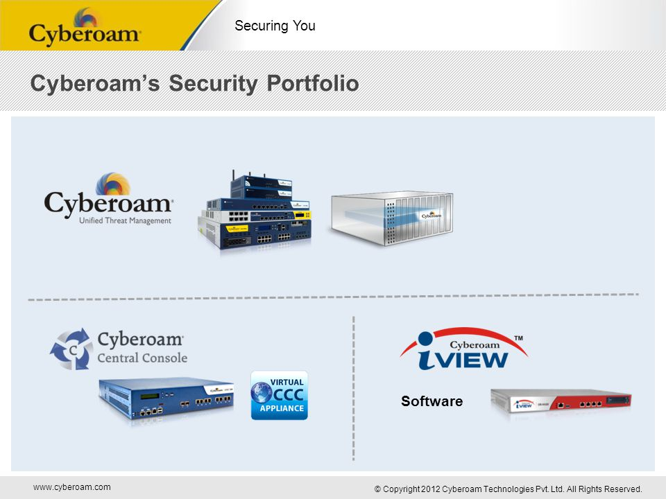 www.cyberoam.com © Copyright 2012 Cyberoam Technologies Pvt. Ltd. All Rights Reserved. Securing You Cyberoam's Security Portfolio Software