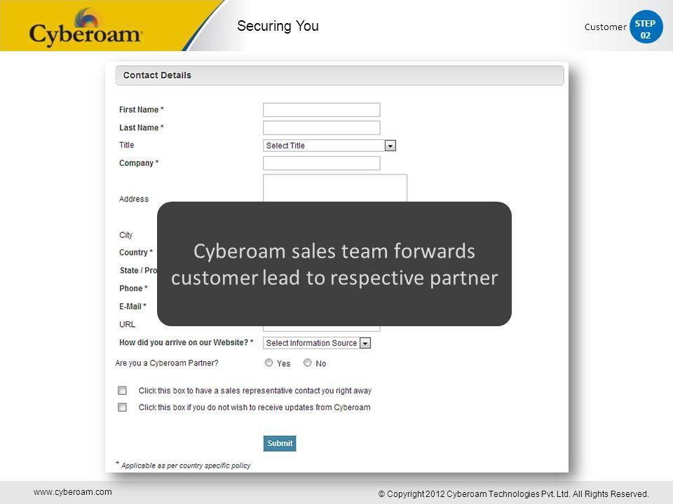 www.cyberoam.com © Copyright 2012 Cyberoam Technologies Pvt. Ltd. All Rights Reserved. Securing You Cyberoam sales team forwards customer lead to resp