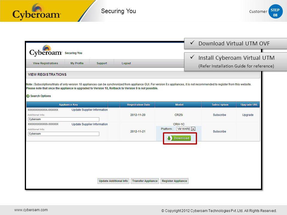 www.cyberoam.com © Copyright 2012 Cyberoam Technologies Pvt. Ltd. All Rights Reserved. Securing You Download Virtual UTM OVF Install Cyberoam Virtual