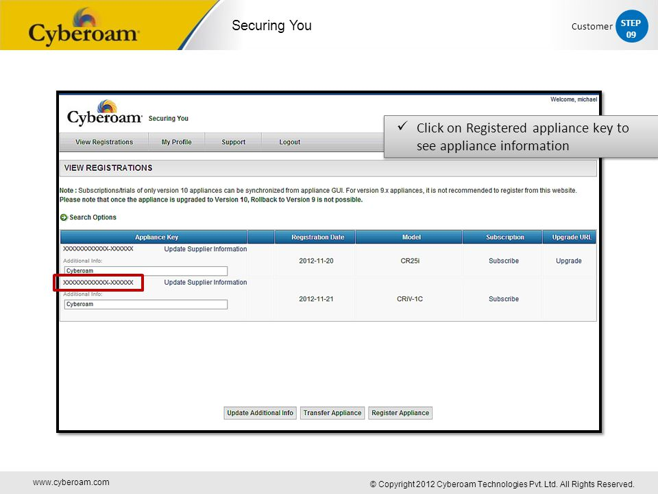 www.cyberoam.com © Copyright 2012 Cyberoam Technologies Pvt. Ltd. All Rights Reserved. Securing You Click on Registered appliance key to see appliance