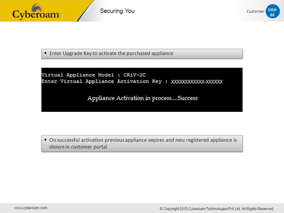 www.cyberoam.com © Copyright 2012 Cyberoam Technologies Pvt. Ltd. All Rights Reserved. Securing You  On successful activation previous appliance expi